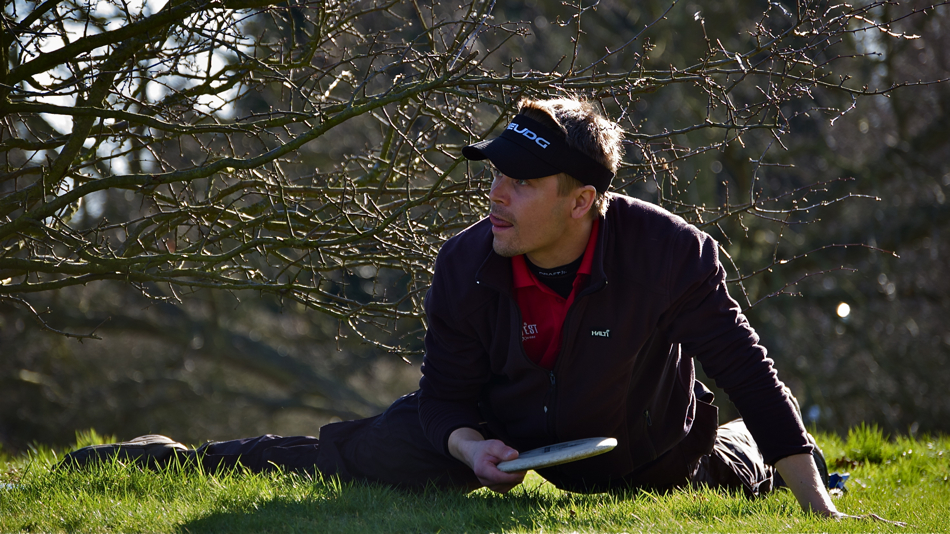 Timo Pursio (Finland) working hard to make his golf round more exciting. Eurotour in Colchester, England