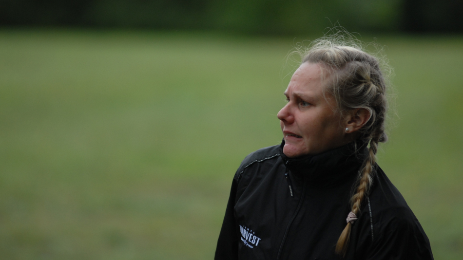 Anne Matilainen (Finland) is worried about her upshot on hole #1 in Wingles, France. Will it make her happy? 1 of 2.