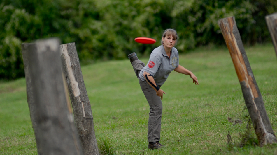 Germany's Alessa Schwarz approaching #3 at the European Disc Golf Championships