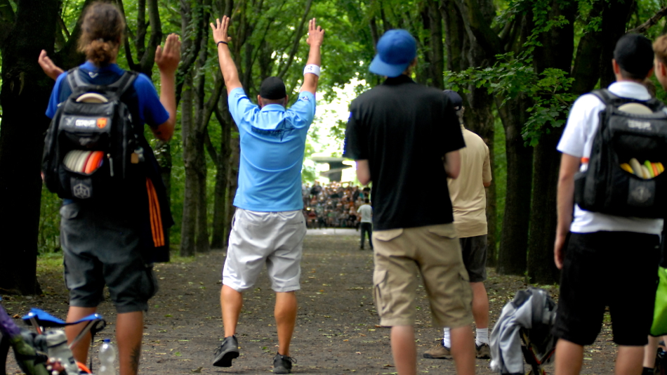 Avery Jenkins (USA) hits the best drive ever at the famous alley hole at the Berlin Open 2012.