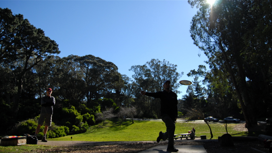 Driving in the shade on a sunny day is a breeze. Golden Gate Park, San Francisco, hole 1.