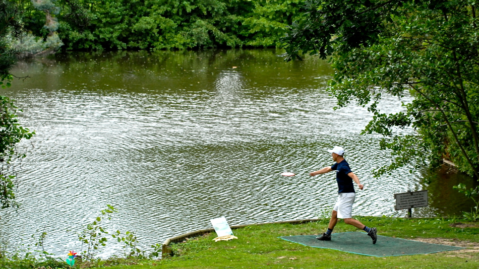 Does water scare you off the tee? Boris Lazarotto (Switerland) hits it over the pond at the Europeans.
