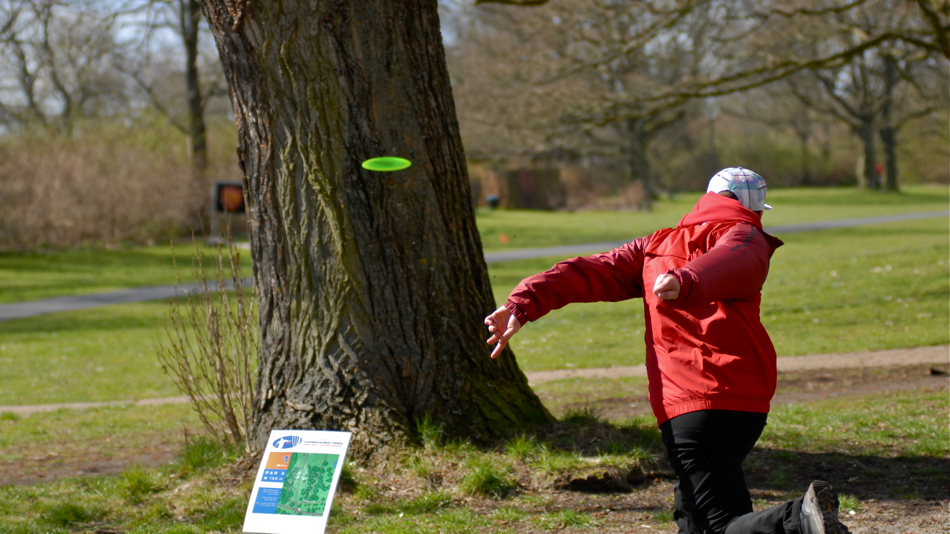 Ouch. Someone from Finland is trying to take down a tree at the Copenhagen Open. The tree survived. Bogey.