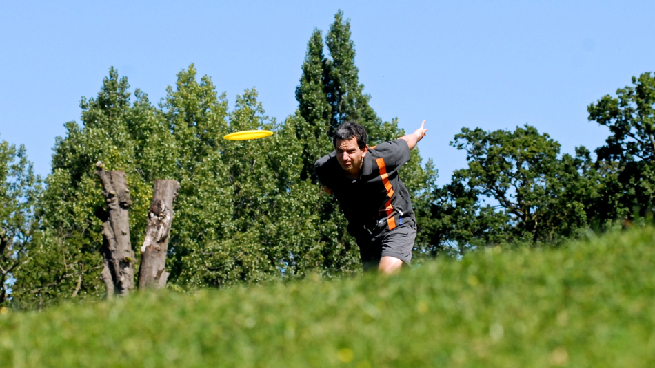 Rene Westenberg (Holland) is focused and teeing off at the long par-4 hole 15, European Championships 2012.